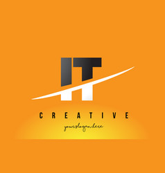 It i t letter modern logo design with yellow vector