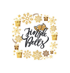 jingle bells lettering print two holiday campanes vector image