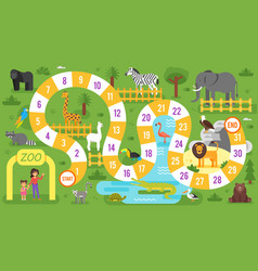Kids zoo animals board game template vector