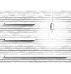 Lamp and shelves on the brick wall background vector