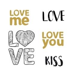 Love lettering set vector image vector image