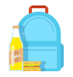 Lunch box school icon flat style vector