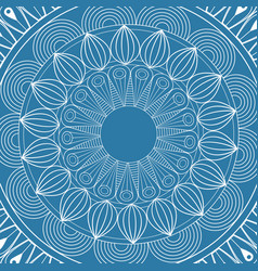 Mandala mystical scheme blue background vector