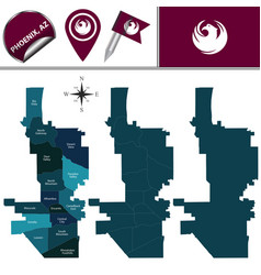 map of phoenix with neighborhoods vector image