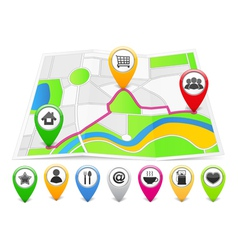 Map with Map Pins vector image
