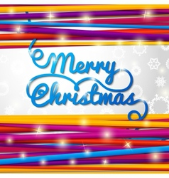 Merry Christmas handwritten blue swirl lettering vector image
