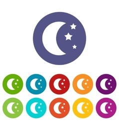 Moon and stars set icons vector