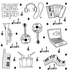 Music element doodles pack hand draw vector