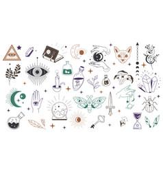 Mystic symbols and occult wisdom signs vector