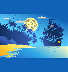 Night seascape with pirate ship 2 vector