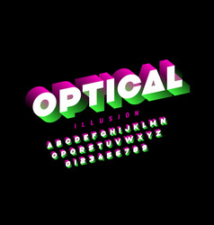 optical style font design vector image