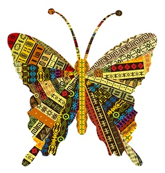 Patchwork fabric with butterfly vector image