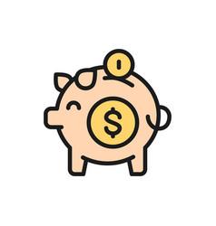 piggy bank save money flat color line icon vector image