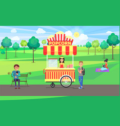 Popcorn poster and steet food vector