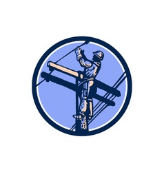 Power Lineman Repairman Climb Pole Retro Circle vector image
