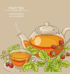 Raspberry tea background vector