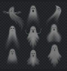 Realistic ghost scary halloween apparition face vector