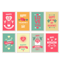 retro cards for happy valentines day vector image