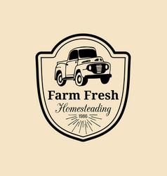 Retro farm fresh logotype organic quality vector