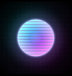 Retrowave style striped sun with blue and pink vector