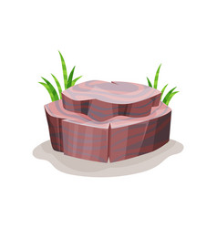 Rock stone and green grass design element of vector