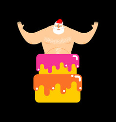 Santa claus stripper from cake christmas vector