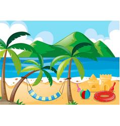 Scene with beach and ocean vector