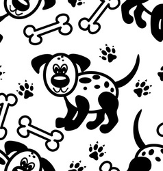 Seamless cute cartoon dog pattern vector