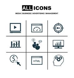 Set 9 marketing icons includes keyword vector