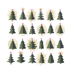 set different fir trees on white background vector image