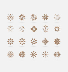 set golden abstract flower symbols vector image