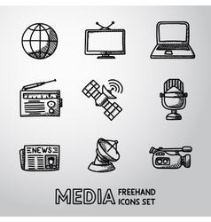 Set of handdrawn media icons - news radio tv vector