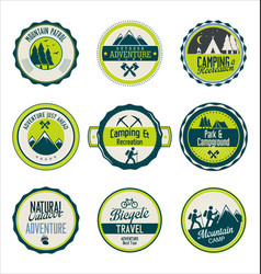 set outdoor adventure blue and green retro vector image