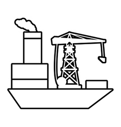 Ship cargo shipping crane chimney outline vector