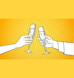 sketched couple hands clinking glass of champagne vector image