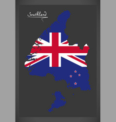 Southland new zealand map with national flag vector