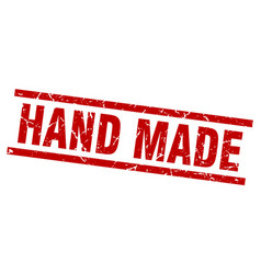 square grunge red hand made stamp vector image