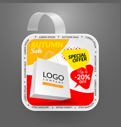 square wobbler design template autumn sale event vector image