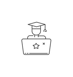 Student with laptop icon online education sign vector