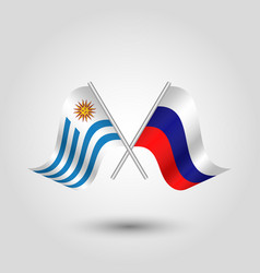 Two crossed uruguayan and russian flags vector
