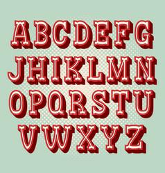 vintage 3d alphabet retro typeface font vector image
