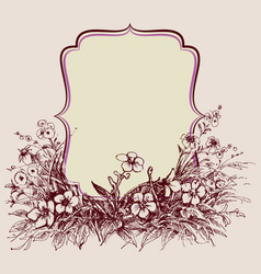 vintage floral frame space for text vector image