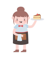 Waitress with cake and menu cartoon character vector