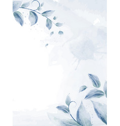 watercolor design with blue branches leaves vector image