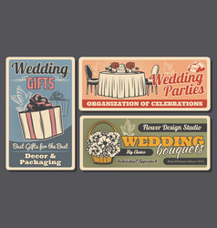 wedding rings gift and cake doves and bouquets vector image
