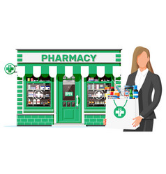 Woman holding drugstore bag in front pharmacy vector