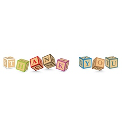 Word THANK YOU written with alphabet blocks vector
