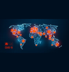 world map novel pandemic coronavirus covid-2019 vector image