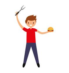 Young man with hamburger and fork vector