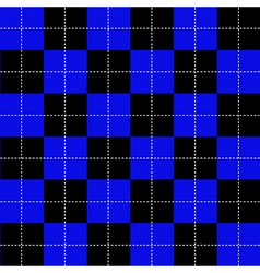 Blue black chess board background vector
